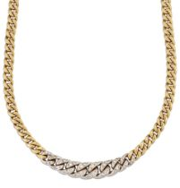 A flexible two colour necklace with diamond links, the uniform curb-link necklace with a central