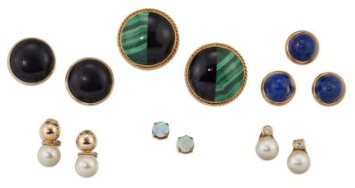 A group of jewellery, comprising: Two pairs of cultured pearl single stone earrings, a pair of