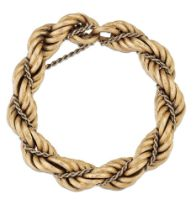 A large Prince-of-Wales link bracelet, of reeded link design with central smaller Prince-of-Wales
