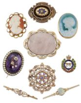Nine various brooches, including an Edwardian oval amethyst single stone brooch with half-pearl