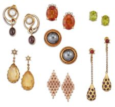 Seven pairs of earrings, comprising: a pair of cushion shaped ruby ovoid drops to chain link