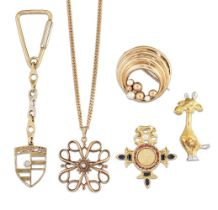 A group of jewellery comprising: three diamond-set brooches, one modelled as a stylised giraffe,