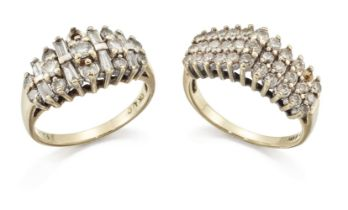 Two diamond cluster rings, one of brilliant-cut diamond triple-row; the other of baguette and