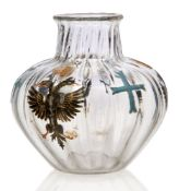 Daum (French Est.1879), an enamelled 'Imperial Russian Commemorative' clear glass vase, Engraved