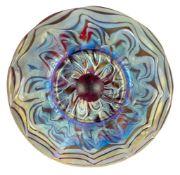 Loetz (Austrian), an iridescent Rubin Phaenomen glass saucer, c.1900, PG 7966, ground out pontil,