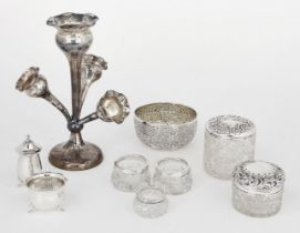 A group of silver and silver mounted items comprising: a four-branch silver epergne, Birmingham, c.