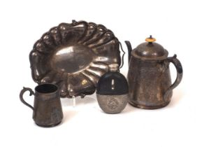 A large group of silver plated items including a Walker & hall posy vase; a hip flask; a swing-