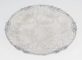 A shallow silver dish with pierced rim, Sheffield, c.1961, S J Rose & Son, of circular form, the