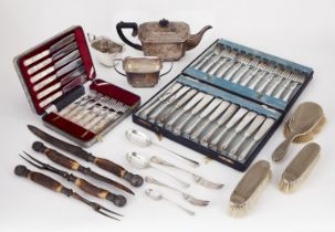 A quantity of silver plate and metal items including: a horn-handled silver mounted carving set,