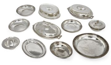 A large collection of Athenaeum Club silver plated dinner ware to include entrée dishes, dish covers