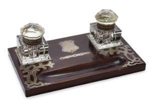 An Edwardian silver mounted wooden inkstand, London, c.1903, M Chapman, Son & Co Ltd., the two