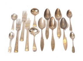 A small group of German and English silver flatware, comprising: two George III silver sauce