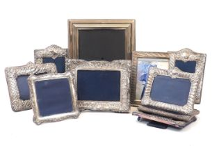 Seven silver mounted photo frames including three examples by Carrs of Sheffield and three