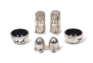 A pair of fluted cylindrical cruets, Birmingham, c.1889, Stokes & Ireland, together with a pair of