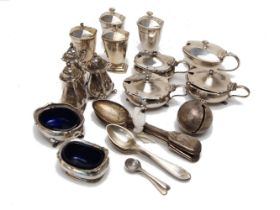 A cased silver cruet set, Birmingham, c.1937, William Greenwood & Sons, together with a collection