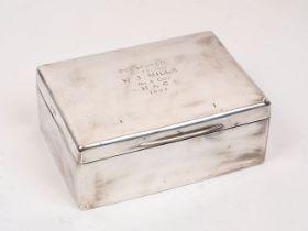 A large Edwardian silver cigar/cigarette box, London, c.1904, Joseph Braham, of plain rectangular