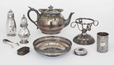 Two silver sugar casters, the baluster example London, c.1907, Carrington & Co., designed with