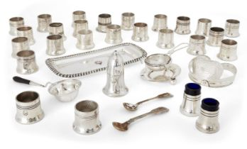 A large quantity of silver plated cruets, some with blue glass liners, each with the Athenaeum