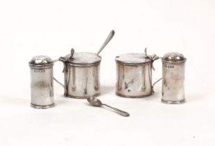 Two pairs of Edwardian silver cruets, the peppers c.1908, Elkington & Co., the blue glass-lined