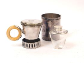 A Victorian silver plated combination flask, stamped Schafer, Piccadilly, the cylindrical beaker