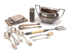 A group of silver comprising: a twin-handled Edwardian silver sugar, Chester, c.1907, Walker & Hall;
