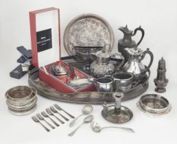 A quantity of silver plate including a large oval tray with pierced sides, a pierced twin-handled