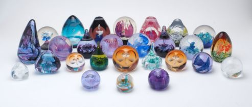A collection of seven Caithness Collectors Club glass paperweights, 1986-2001, comprising: Domino