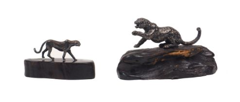 Patrick Mavros, Zimbabwean, a sculpture of a leopard, c.1995, of sterling silver on bog oak stand,
