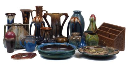 A large quantity of Art Nouveau and Arts & Crafts pottery, 20th century, to include; a selection