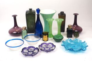 A quantity of coloured glassware, 20th century and later, pressed and blown examples, to include;