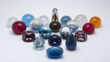 A collection of twenty glass paperweights, various makers; comprising: three Webb Corbett examples -