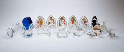 A collection of twenty six glass paperweights, various makers, comprising: Dartington: commemorative