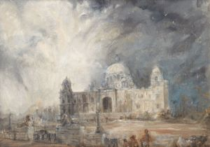 Rupa Natarajan, Indian, 20th century- Indian Summer, the Victoria Memorial, Calcutta; oil on canvas,