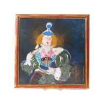 An abstract painting on enamel, 20th century, depicting a woman in costume, framed, unsigned, 25cm x