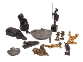 Two modern sculptures, 20th century, modelled as nude women, formed in resin, with indistinct