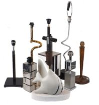 Nine modern table lamp bases, late 20th century, to include; two twist base design lamps, 66cm high,