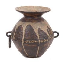 A pottery vase, 20th century, earthenware and drip glaze, with moulded pattern, additional applied