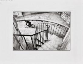 Henri Cartier-Bresson, French 1908-2004- Man Cycling down street, Hyeres, France, 2006; digital