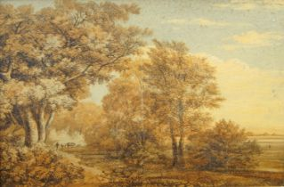 British School, late 18th/early 19th century- Figure with cows in an English landscape; watercolour,