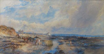 Henry Earp, British 1831-1914- Gathering seaweed on Worthing Beach; watercolour, signed, 33.5 x 69.5