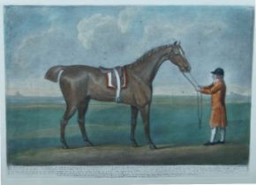 Various Artists, British 19th century- Jockeys with Horses; four etchings in colours on wove, to