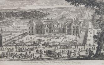 Gabriel Perelle, French 1604-1677- Vue du Chateau de Vaux le Vicomte de cote de l'entrée; copper