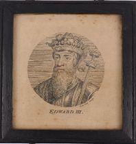 Simon François Ravenet, French 1706-1774- Edward III; engraving, plate: 9.8 x 9.8 cm: together