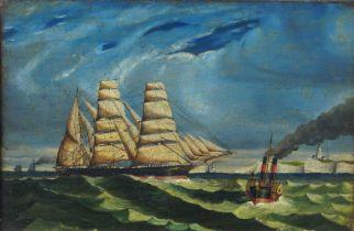 British School, mid-19th century- A Tea Clipper off an English coastline; oil on panel, 18 x 26.5 cm