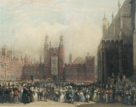 British School, 19th century- Scenes from Eton College; hand-coloured engravings, a pair, ea. 69 x
