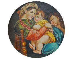 After Raphael, Italian 1483-1520- Madonna della seggiola; oil on board, tondo, signed and dated '