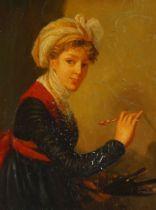 After Elisabeth Louise Vigée Le Brun, French 1755-1842- Self-Portrait; oil on copper, 25.5 x 20.5 cm