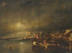 Circle of Petrus van Schendel, Dutch/Belgian 1806-1870- Nocturnal coastal scene with fishermen;