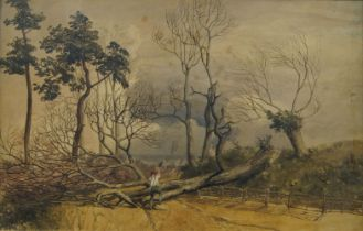 British School, mid 19th century- Woodcutter with a fallen tree in a landscape; watercolour, 39.