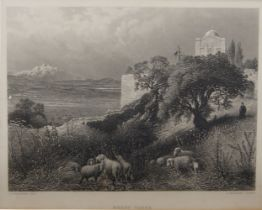 Arthur Willmore, British 1814-1888- Mount Tabor, after J. D. Woodward; engraving, 21 x 27 cm:
